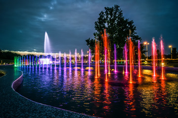 colorful musical fountain in Warsaw