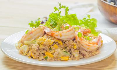close up of shrimp fried rice,selective focus