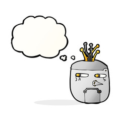 cartoon robot head with thought bubble