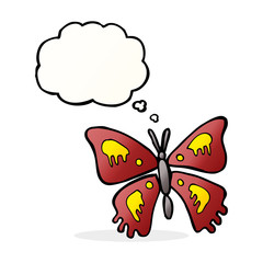 cartoon butterfly with thought bubble