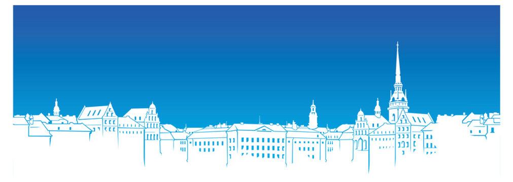 Vector Shwedish town silhouette