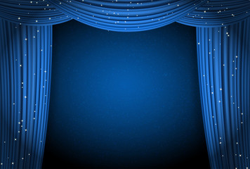 blue curtains on blue background with glittering stars