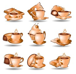 set of coffee or tea cups with snacks web icon in brown color style