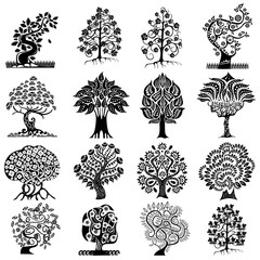 set of silhouettes of abstract trees isolated on white