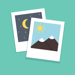 Polaroid photo. Modern flat style. Vector icon