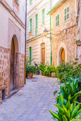 Wall Mural - View of an beautiful narrow street with old mediterranean buildings