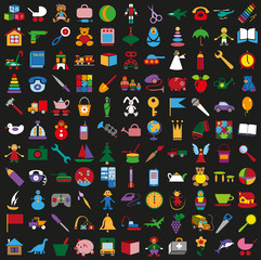 toys icons on black background set