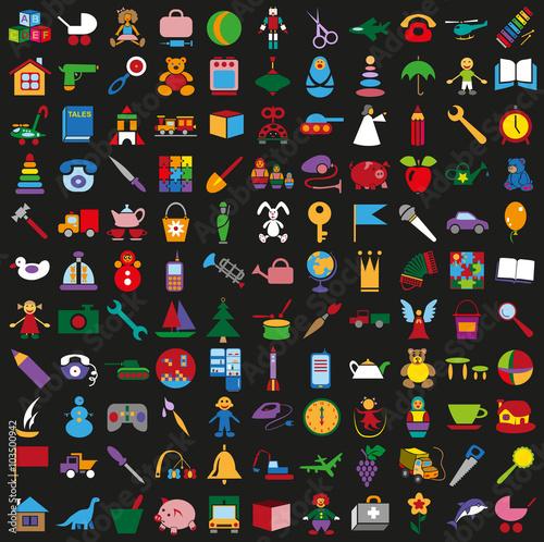 toys icons on black background set