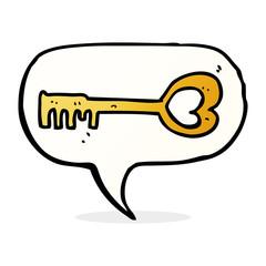 cartoon heart shaped key with speech bubble