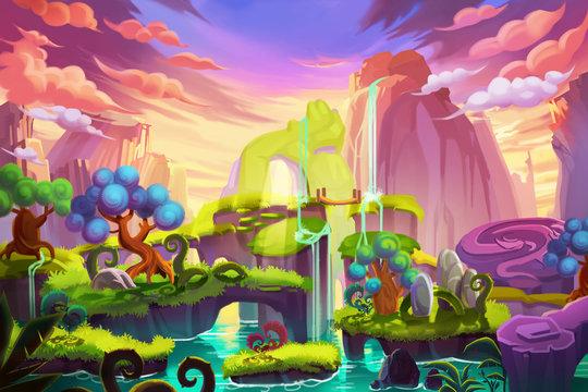 Creative Illustration and Innovative Art: Waterfall Island. Realistic Fantastic Cartoon Style Artwork Scene, Wallpaper, Story Background, Card Design