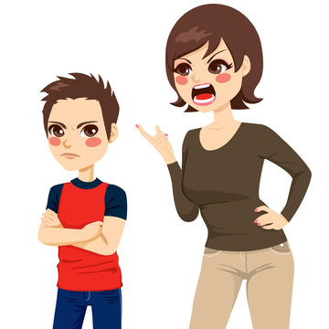 Illustration of upset young mother scolding teenager angry boy