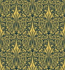 Damask seamless pattern repeating background. Golden blue floral ornament in baroque style.