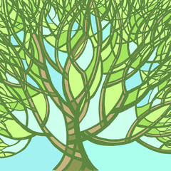 Stylized abstract spring tree.