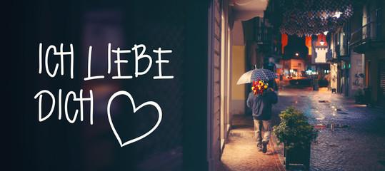 """Romantisches Hintergrundbild mit """"Ich liebe Dich"""" Schriftzug"""