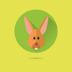 easter bunny flat design vector icon