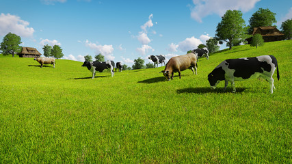 Wall Mural - Rural scenery with a herd of cows grazing on the green meadows nearby from the rustic houses. Realistic 3D illustration.