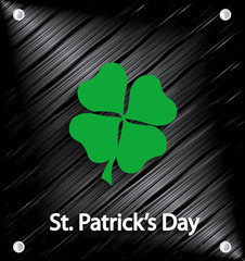 St. Patrick's Day poster. Green clover on metal background. Vector illustration.