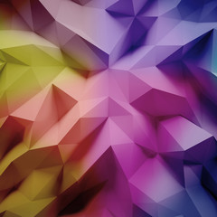 Photo of highly detailed multicolor polygon. Violet, blue, pink geometric rumpled triangular low poly style. Abstract background. Square. 3d render