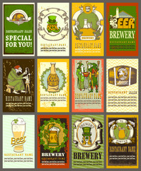 Beer label design for St. Patrick's Day.Set contains different beer labels design.