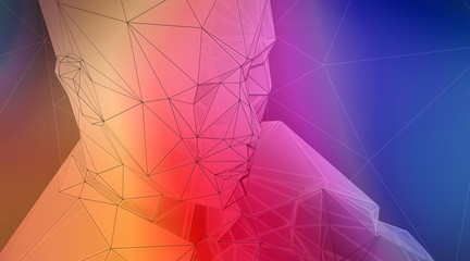 Photo of highly detailed multicolor polygon human face. Abstract architecture background. Horizontal. 3d render