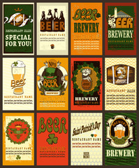 Beer labels set with shamrock.Set  contains beer labels for beer design.
