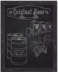 brewery, metallic barrels of beer and hops