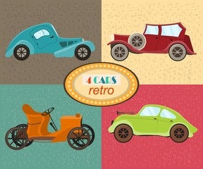 Vector set of four retro cars. Urban traffic vehicles. Icons featuring modern and retro automobiles, old fashioned vintage car. Multicolored retro cars. Isolated. Vector illustration