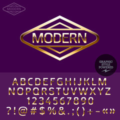 Gold emblem for luxury store. Vector set of letters, numbers and symbols.