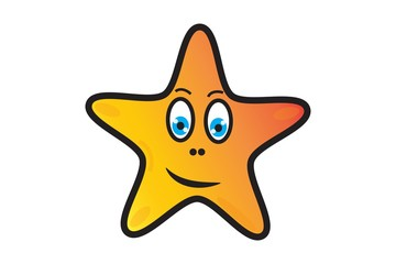 Star on white background. Cartoon.