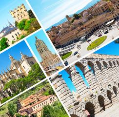 Segovia, Spain Aqueduct at Plaza del Azoguejo Collage, Spain