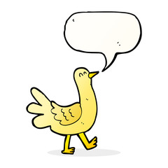 cartoon walking bird with speech bubble
