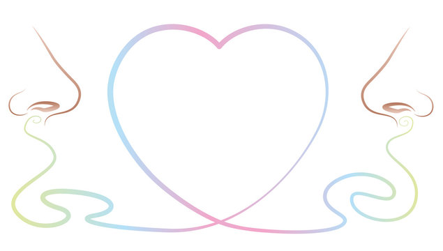 Love pheromones - two noses smell and sense an attractive body odor, depicted as a heart symbol between them. Isolated vector illustration on white background.