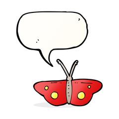 cartoon butterfly symbol with speech bubble
