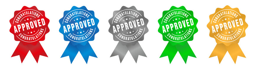 Vector Approved Congratulations Badge Ribbon