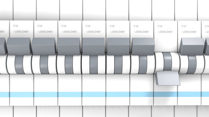 Gros plan sur une série de disjoncteur dont un est désactivé