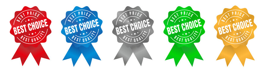 Vector Best Price Best Choice Best Quality Badge Ribbon