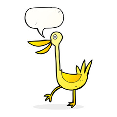 funny cartoon duck with speech bubble