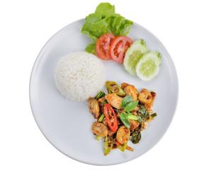 Pork fried mushrooms. thai food
