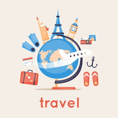 Travel the world. Vector illustration flat design.