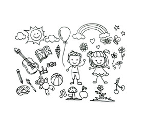 Vector set of Hand drawn sketch doodles of children or baby draw concept