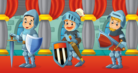 Cartoon scene with knights - illustration for the children