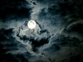 Mysterious night sky with moon Fotoväggar