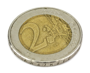 two euro coin closeup on white background!