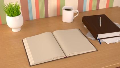 Book,mug and flowerpot on study table.