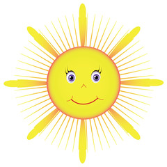 Picture yellow sun. Object white isolated, vector format.