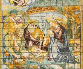 Religious ceramic tile, Nativity, Lisbon, Portugal