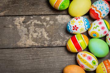 Easter eggs on wooden
