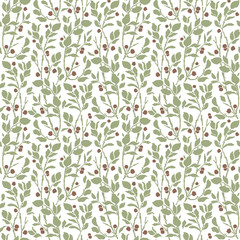 Art Deco vintage pattern with sprigs and berries.
