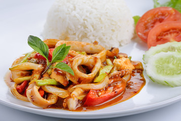 Basil Squid with rice