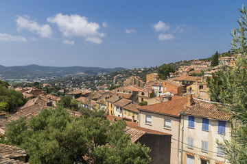 Overview of Bormes-les-Mimosas on Sunny Day
